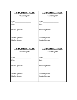 Tutoring Pass