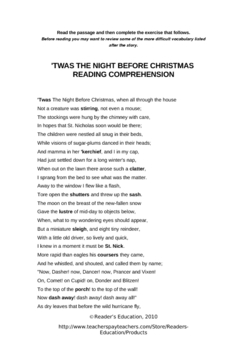 Twas the night before christmas reading comprehension