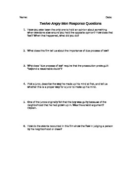 Twelve Angry Men Movie Response Questions