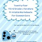 Twenty-Four Third Grade Literature Printable Worksheets fo