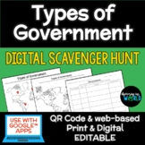 Types of Government QR Code Lesson - FULLY EDITABLE