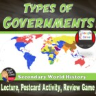 Types of Governments: Lecture, Postcard Activity, Review Game.