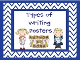 Types of Writing Posters with Chevron Frames