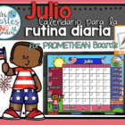UPDATED!! ACTIVBOARD Calendar Math- Julio (Spanish)