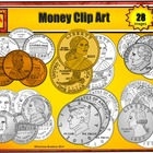 U.S. Coins: Penny, Nickel, Dime and Quarter Clip Art