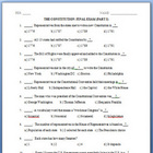 U.S. Constitution Exam and Answer Key (8 pages each)