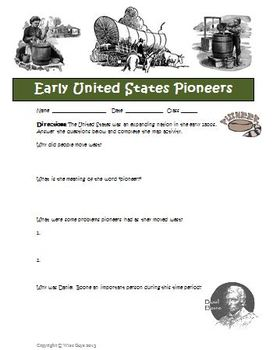 US Pioneers Westward Movement Worksheet and Map Activity