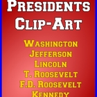 US Presidents Clip Art - Roosevelt, Washington, Jefferson,