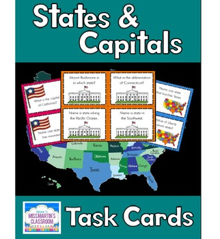 US States, Capitals, and Map Skills Task Cards