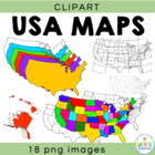 USA Maps Clipart (map outlines)