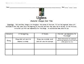 Uglies Literature Unit - Character Changes Over Time Activity
