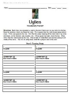 Uglies Literature Unit - Vocabulary Packet