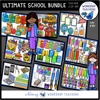 Ultimate School Clip Art Bundle (210 graphics) Whimsy Workshop Teaching
