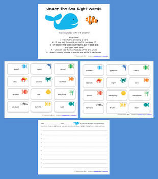 Under the Sea Sight Words - 3rd grade words
