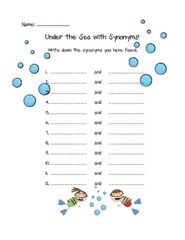 Under the Sea with Synonyms {Go Fish}