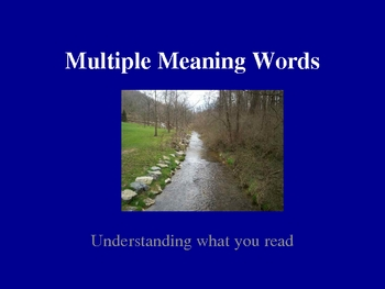 Understanding Multiple Meaning Words