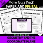 Unit 5 Common Core Math Quizzes - *Geometry and the Coordi