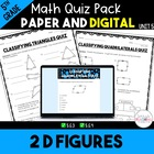 Unit 6 Common Core Math Quizzes - *2D Figures* - 5th