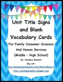 Unit Titles and Blank Word Cards -  Family and Consumer Sc