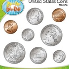 United States Coins Clip Art — Comes In Color and Black & White!