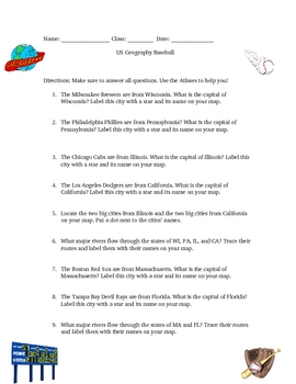 United States Geography Baseball Activity Game Opening Day
