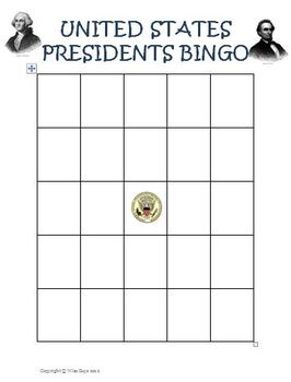 United States Presidents Day Bingo Game Activity