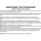 Unpacking the Standards General Template