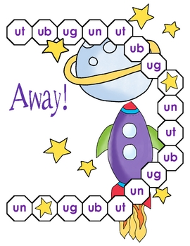 Up, Up, and Away! Ut, Ub, Ug, and Un Word Family File Folder Game