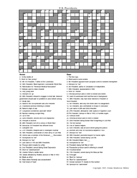 U.S. Presidents Crossword Puzzle