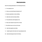 Using Apostrophes Worksheet