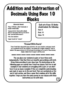Using Base 10 Blocks to Add, Subtract, Compare and Order Decimals