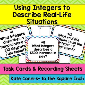 Using Integers to Describe Real Life Situations Task Cards