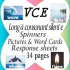 VCE Long a sound rainbow spinners, picture & word cards an