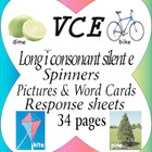 VCE Long i sound rainbow spinners, picture & word cards an