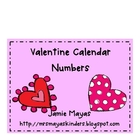 Valentine Calendar Numbers