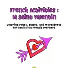 Valentine French Bundle:  Worksheets and Activities for Beginners