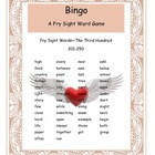 Valentine Fry Words 201-250 Bingo Game