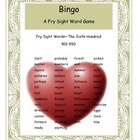 Valentine Fry Words 501-550 Bingo Game