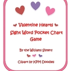 Valentine Hearts Sight Word Pocket Chart Game