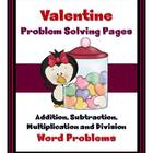 Valentine Math Problem Solving Sheets - Word Problems