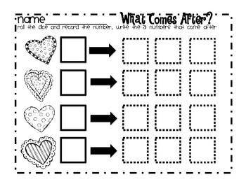 "Valentine Math Station ""What Comes Before and What Comes After?"""