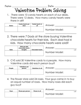 Valentine Multiplication / Division Diagram Problem Solving
