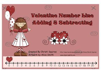 Valentine Number Line Adding & Subtracting