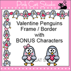 Valentine Penguins Frame / Border Clip Art - Personal & Co
