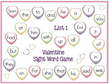 Valentine Sight Word Games