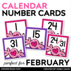 Valentine Themed Calendar Numbers
