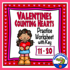 Valentine's Counting Hearts Activity Sheet Numbers 11 - 20