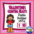 Valentine's Counting Hearts Activity Sheet
