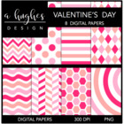 Valentine&#039;s Day {12x12 Digital Papers for Commercial Use}