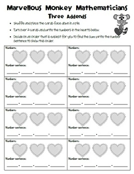 Valentine's Day 2 and 3 addends, subtraction, multiplication